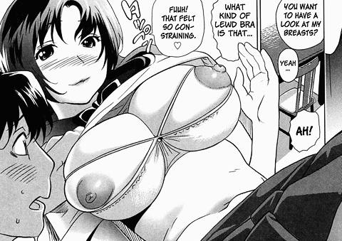 Aozora sister big tits in sexy lewd open bra, nipple sticking out hentai manga