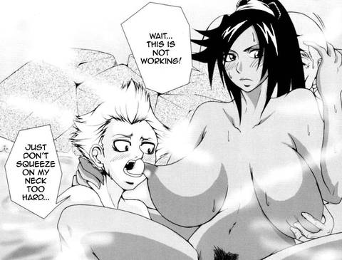 Jinta sucking naked Yoruichi big tits hentai bleach