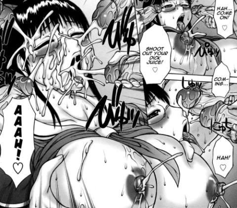 Dick juice facial bukkake on girl in glasses hentai