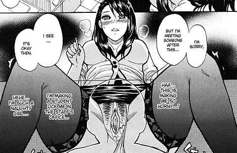 Cunnilingus on Hot Female Teacher (Panties Aside) Hentai Manga