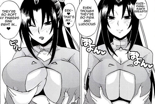 Touching Sekirei Kazehana firm and luscious big breasts in sexy cleavage outft