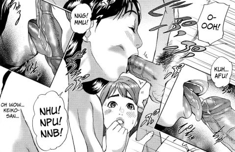 plump cheating wife cock in mouth giving blowjob in front of her friend hyji hentai manga
