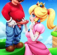 Princess Peach sucks cock hentai
