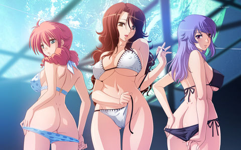 Gundam 00 hentai cg, sumeragi lee noriega, feldt grace, anew returner in sexy bikini